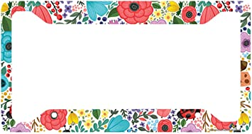 Red Flower Pattern Auto Car License Plate Frame Tag Holder 4 Hole