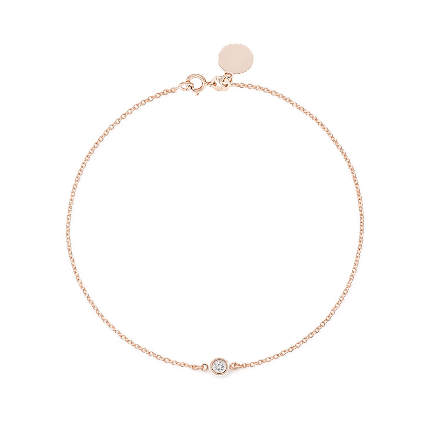 Solitaire Diamond Bracelet - Solid Yellow White Rose Gold -14K or 18Karat - Dainty and Simple Bezel Set - Free Engraving - Graceful Gift for Women (0.10 CT Diamond SIZE 7.5'' 18K Rose Gold)