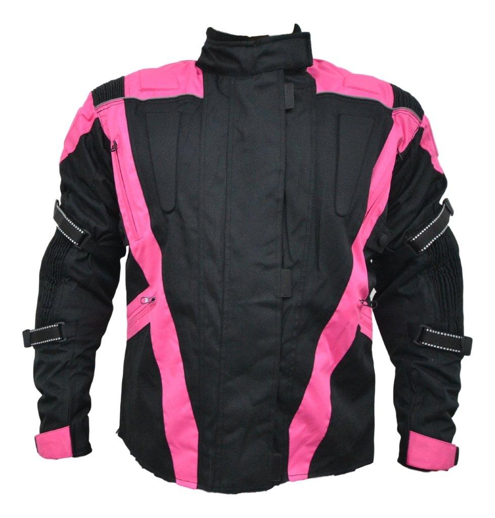 Turin - Damen Motorradjacke - wasserdicht & mit Protektoren - schwarz & pink - Grö ß e EU 46 - Brustumfang 114cm Texpeed TMWCJ-BK-P-18