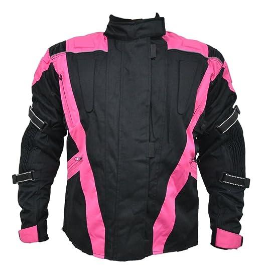 Turin - Chaqueta de motociclismo para mujer- Impermeable y con protectores - Negro y rosa - EU 50 - contorno de pecho 122cm
