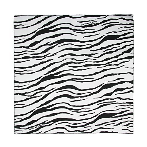 CTM Women's Cotton Zebra Print Bandanas, White (Animal Print Bandanas)