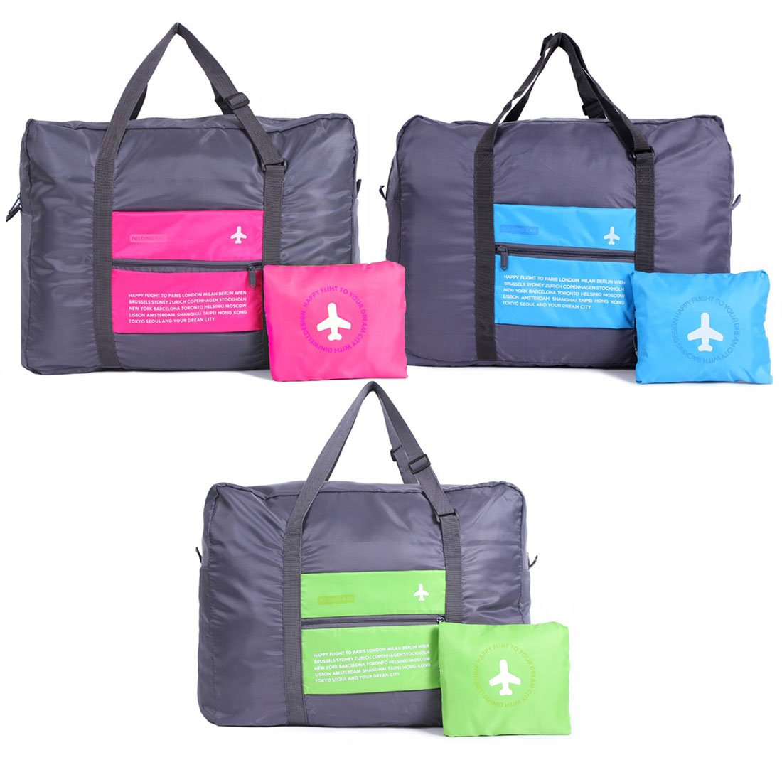 Foldable Travel Duffel Bag 32L Waterproof Lightweight Sport Gym Luggage Bag (3Pcs - Pink, Green, Blue)