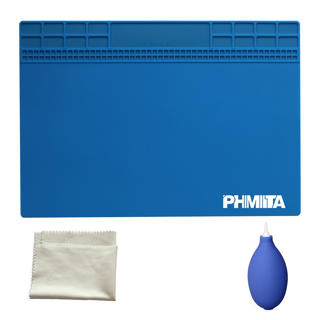 PHIMIITA tapis de soudure Heat Resistant 500° C Mini Soldering Working Station Insulation Pad for Phone Soldering Iron and more Electronic Repair (big, blue)