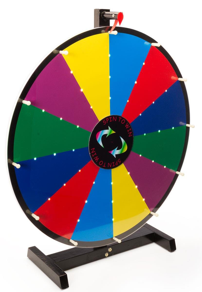 Displays2go Write-On with Dry Erase Illuminated Tabletop Prize Wheel, 24-Inch