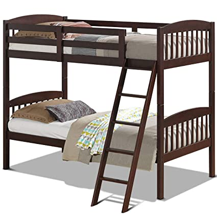 Amazon Com Costzon Twin Over Twin Bunk Beds Convertible Into Two
