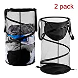 Pop-Up Mesh Hamper,Foldable Laundry Basket Collapsible Clothes basketswith Handles for Dirty Clothes, Baby Kids Toys, Sporting Goods (A)
