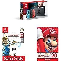 Nintendo Switch - Neon Blue and Red Joy-Con + SanDisk 64GB microSDXC UHS-I card + eCash - Nintendo eShop Gift Card $20 bundle