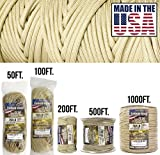 TOUGH-GRID 750lb Buckskin (Desert Sand) Paracord/Parachute Cord - Genuine Mil Spec Type IV 750lb Paracord Used by The US Military (MIl-C-5040-H) - 100% Nylon - Made in The USA. 200Ft. - Buckskin