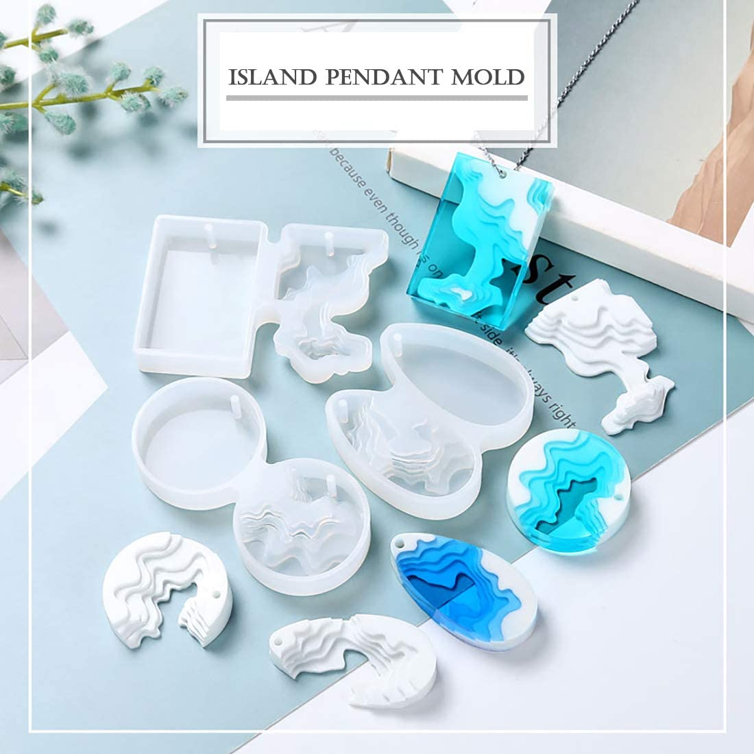 FineInno 3Pcs Island Resin Moulds Ocean Themed Silicone Moulds for Resin for Jewellery Making Silicone Pendant Molds with Holes DIY Resin Jewelry Island Resin Moulds