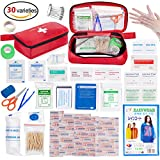 Eletecpro First Aid Kit 180 Pack Best Emergency First Aid Medical Bag for Home/Car/ Travel/Camping Riding(Red)