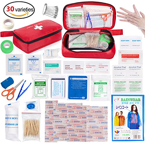Eletecpro First Aid Kit 180 Pack Best Emergency First Aid Medical Bag for Home/Car/Travel/Camping Riding(Red)