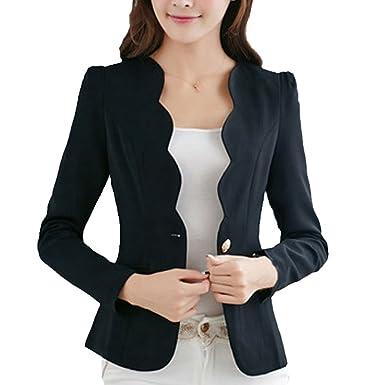 85c18a21949c7 JuneJour Femme Blazers Court Veste de Tailleur Slim pour Printemps Automne  Hiver