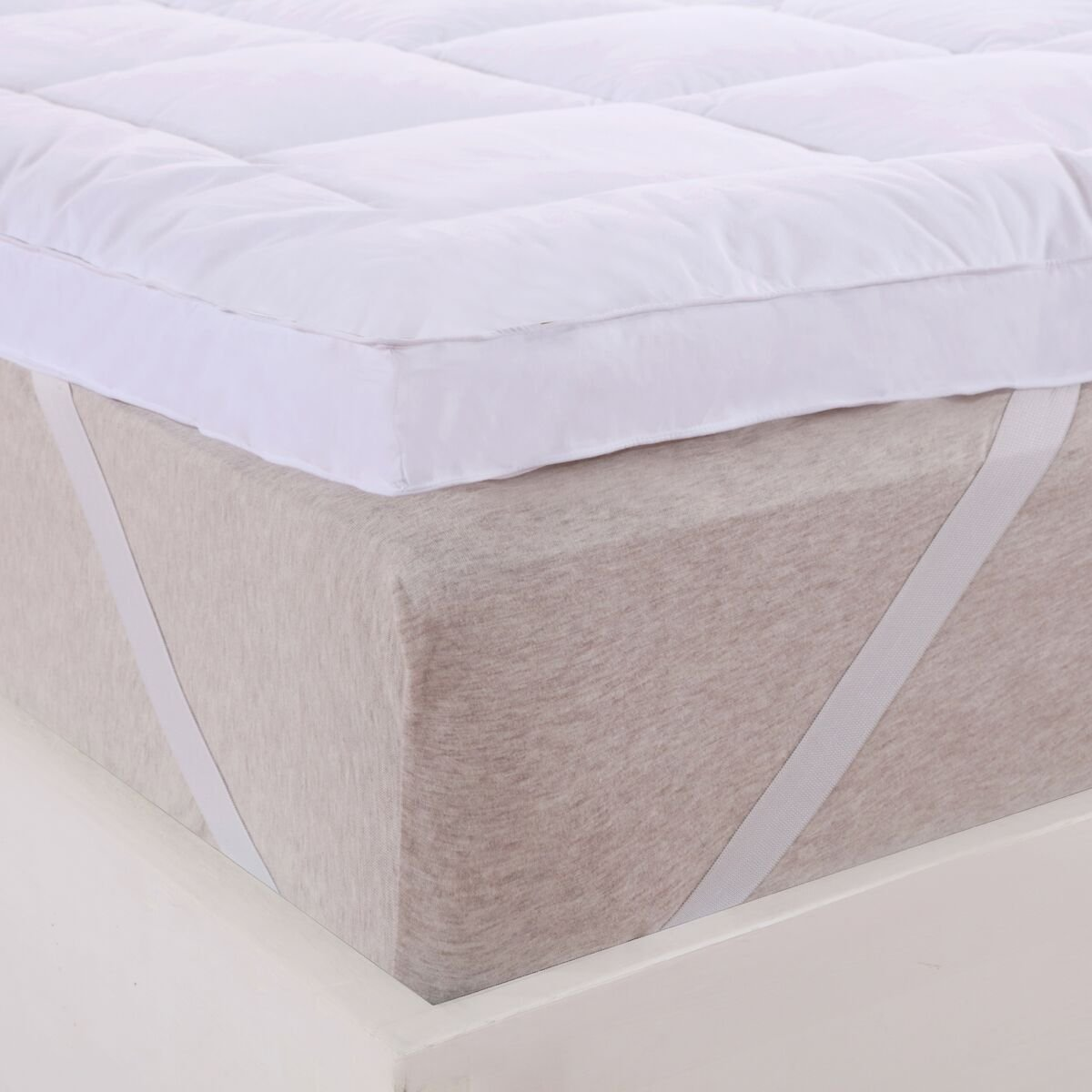 Abripedic Plush Cotton MATTRESS TOPPER, Cal-King, 2 Inches Hypoallergenic Overfilled Down Alternative Anchor Bands Mattress Topper