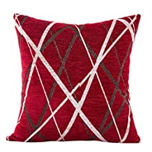 Clearance! Napoo Ray Striped Plush Pillow Case Waist Throw Cushion Cover Cushion for Bedroom Sofa 42X42cm (Red)