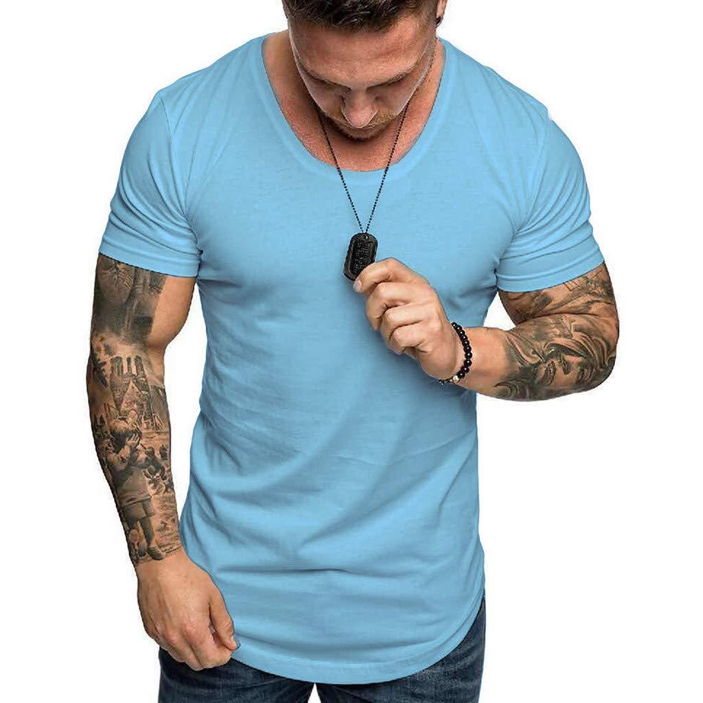 YOMXL Athletic Men's Performance Cotton Short Sleeve T-Shirt Classic Basic Solid Color Ultra Soft T-Shirt Light Blue by YOMXL