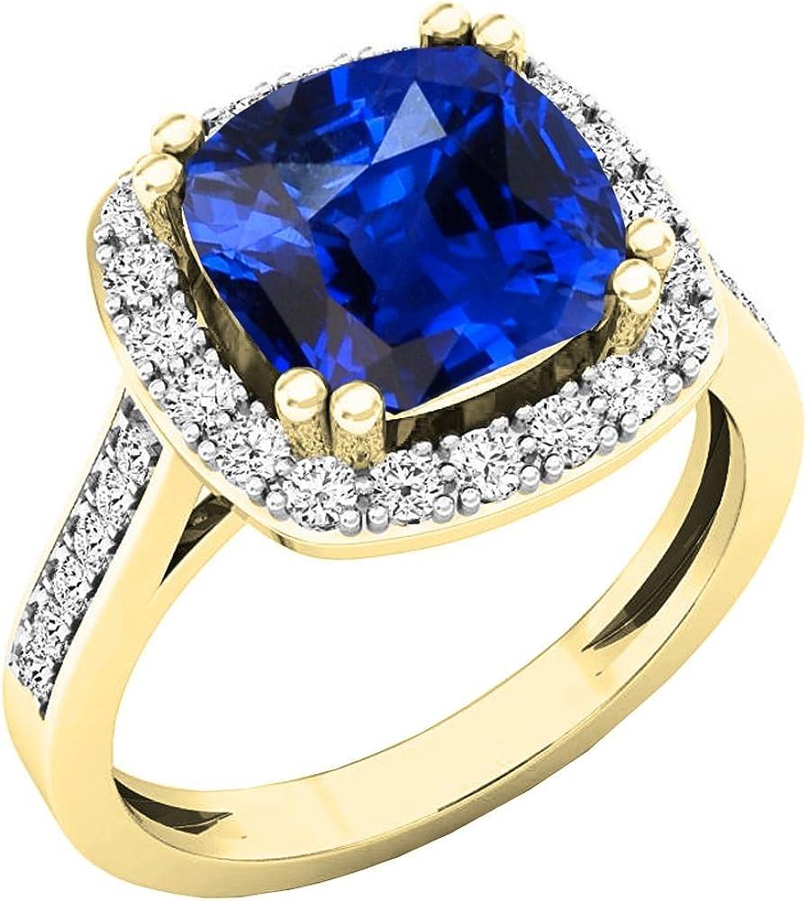 Dazzlingrock Collection 10K 9X9 MM Cushion Lab Created Gemstone /& Round Diamond Bridal Halo Engagement Ring Yellow Gold