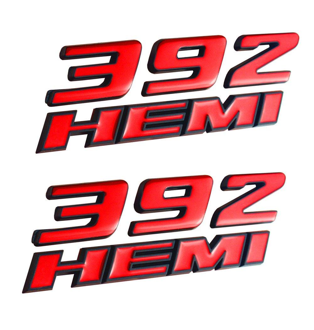 Aimoll 2pcs 392 Hemi Emblem, Badge Decal 3D Logo for Dodge Challenger Chrysle 300c (Matte Black)