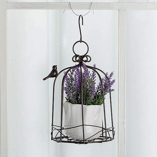 Metal Wire Flower Pot Basket Wrought... TJ Global Iron Birdcage Hanging Planter