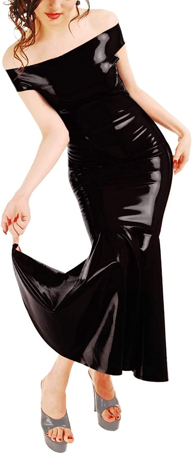 Ledapol Anita Berg Elegant Long Latex Carmen Dress with Zip