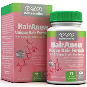 HairAnew: Focused Hair Formula For Women - For Stronger, Thicker, Healthier Hair - 5000 Biotin PLUS Key Hair Vitamins, Minerals, & Nutrients - Independently Tested - Vegan - Gluten Free - Non-GMO