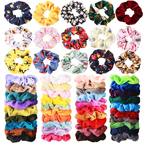 54 Pcs Hair Scrunchies 40 Velvet Hair Scrunchies 14 Chiffon Hair Scrunchies Hair Elastic Scrunchy Ties Ropes Scrunchie for Women or Girls Hair Accessories, 54 Assorted Colors Scrunchies