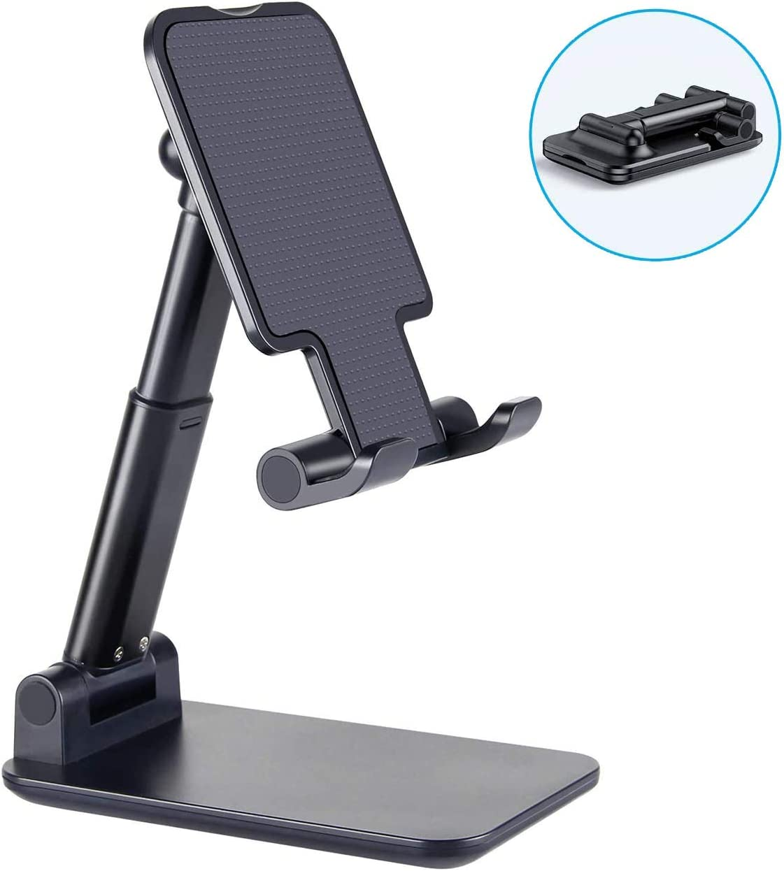 "Cell Phone Stand, Fully Foldable, Adjustable Desktop Phone Holder Cradle Tablet Stand Compatible with Smartphone/ iPad Mini/ Nintendo Switch/ Kindle/ Tablet (4-11"")"