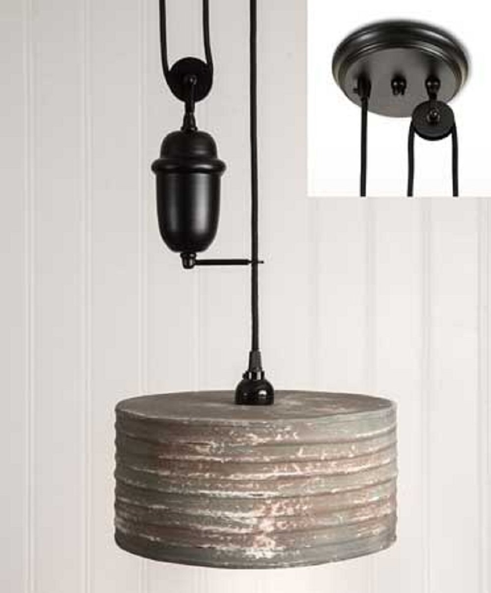 CTW Round Pull Down Pendant Lamp Textured Grey