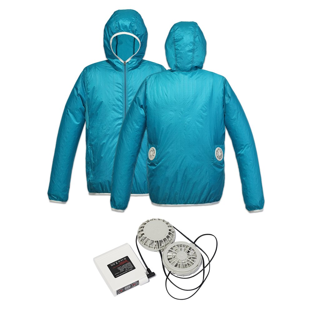 Jinpei 長袖 日焼け止め空調服+ファン+リチウムイオンバッテリーセット 屋外作業での熱中症対策暑さ対策に(青い黄色のエッジ) B07C71N7FJ XL|レイクブルーフルセット