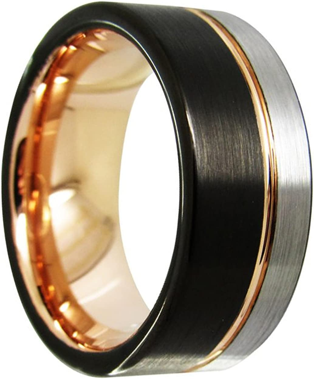 8mm flat top brushed with rose gold groove tri-color Tungsten Carbide Ring Wedding valentines Jewelry Finger Men and Women