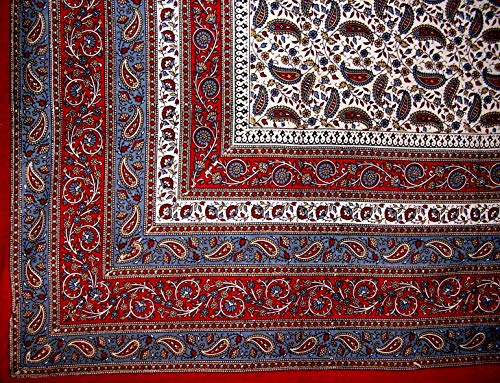Art Jaipur - India Arts Jaipur Paisley Tapestry Cotton Bedspread 90