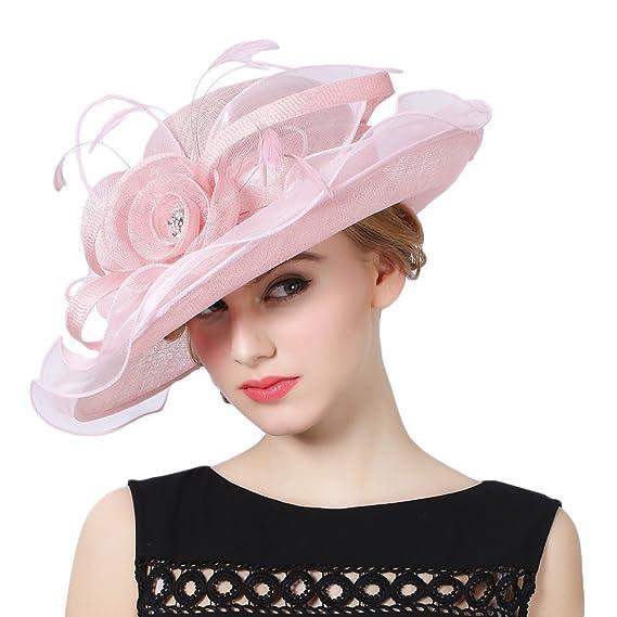 Koola s hats Women 3 Layers Sinamay Wedding Hats Pink Sun Hat Bridal Dress  Hat 624cfb3db67