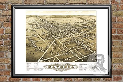Old Map of Ravenna Historic Decor OH from 1882 Vintage Ohio Art