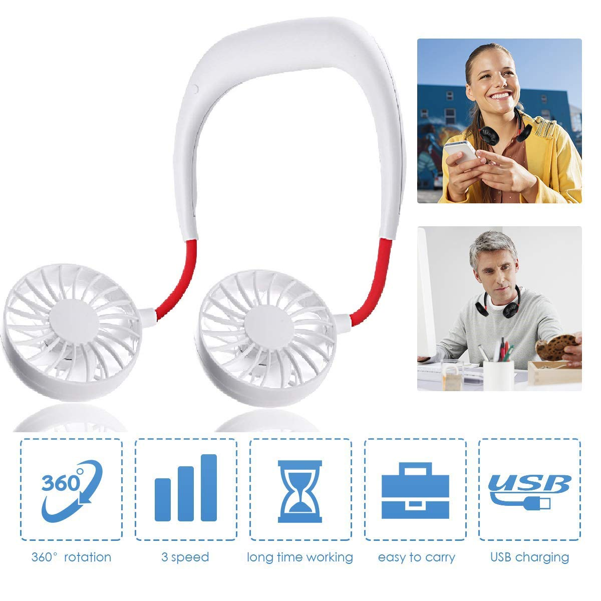 Adjustment Desktop Wearable Cooler Fans for Traveling//Camping//BBQ//Gym//Outdoor//Office with Free Rubber Hand Free Personal Fan Neckband Sport Fan Portable USB Battery Rechargeable Mini Fan Upgrade
