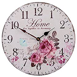 Silent Non-Ticking Decorative Wooden Wall Clock by SkyNature (12 in, home)