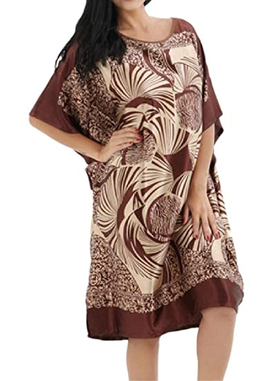 2fd2d91d65e8 Howme Women s Plus-Size Charmeuse Pajama Summer Floral Print Nightgown  Coffee OS at Amazon Women s Clothing store