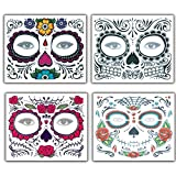 SEALEN Halloween Floral Temporary Face Tattoo Kit, Perfect for Cosplay Costume Parties, Waterproof Nontoxic Halloween Makeup for Men Women Children (Pack of 4)