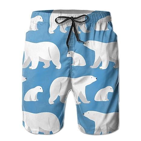 00d063a0b3 Roon Men's Boy's Print Quick Dry Beach Board Shorts Polar Bear In Blue  Bathing