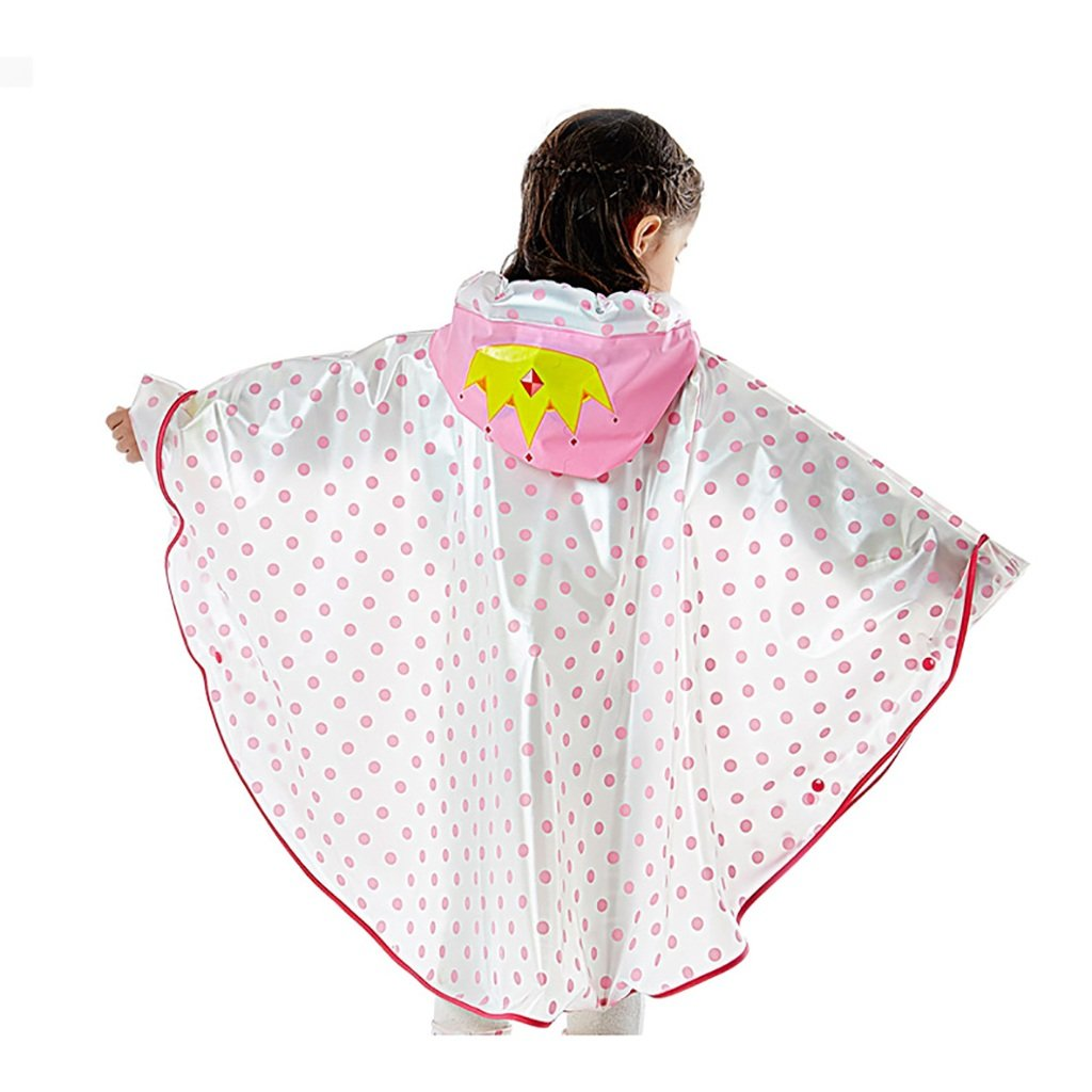 FSYY Impermeabile Impermeabile per Bambini Poncho Completo da 4 a 12 Anni Ragazzi e Ragazze con la Borsa Posizione Allaperto A Piedi Mantello Cappello Gonfiabile Trasparente Trasparente Trasparente