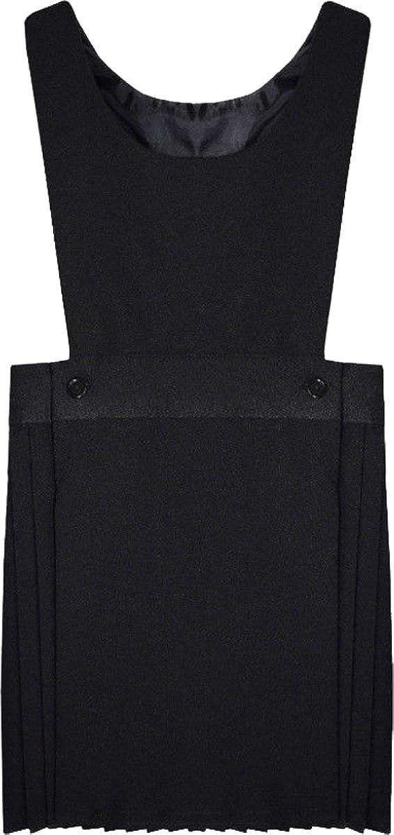 Onlyglobal Pleated Bib Pinafore Dress 2-16 Girls School Uniform Grey Black Navy Maroon UK