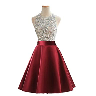 e9cf972ec2b Image Unavailable. Image not available for. Color  MEILISAY Women s Beaded  Sparkly Prom Ball Gown Short Mini Homecoming Dresses 2018