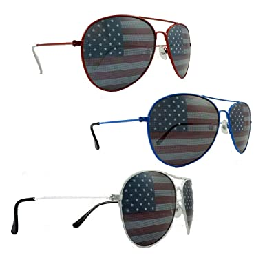 Amazoncom 3 American Flag Aviator Sunglasses Red White Blue Frames