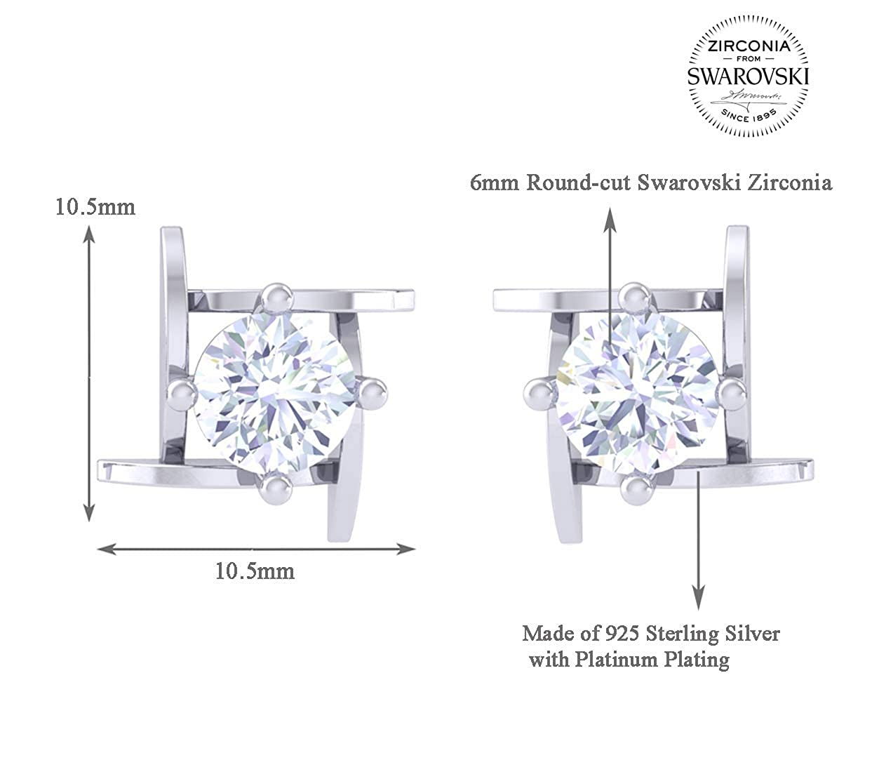 4ba0590a1 Buy Clara Made with Swarovski Zirconia BIS Hallmarked 92.5 Sterling Silver  Platinum Plated Maria Solitaire Earring Gift For Women & Girls Online at Low  ...