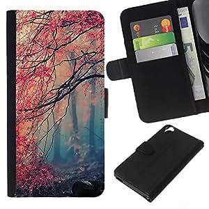 NEECELL GIFT forCITY // Billetera de cuero Caso Cubierta de protección Carcasa / Leather Wallet Case for HTC Desire 820 // Arce Rojo Bosque
