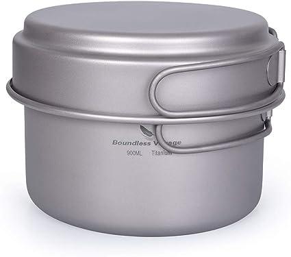Boundless Voyage Camping Kit de Utensilios de Cocina Juego de ollas de Titanio con Mango Plegable Kit de Cocina para cocinar al Aire Libre Ollas ...