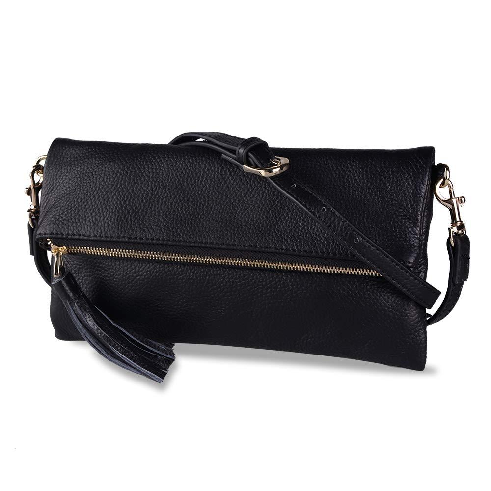 Befen Women Leather Wristlet Wallet Shoulder Crossbody Bag Clutch Purses with 6 Card Slots/Wrist Strap/Crossbody Strap – Black