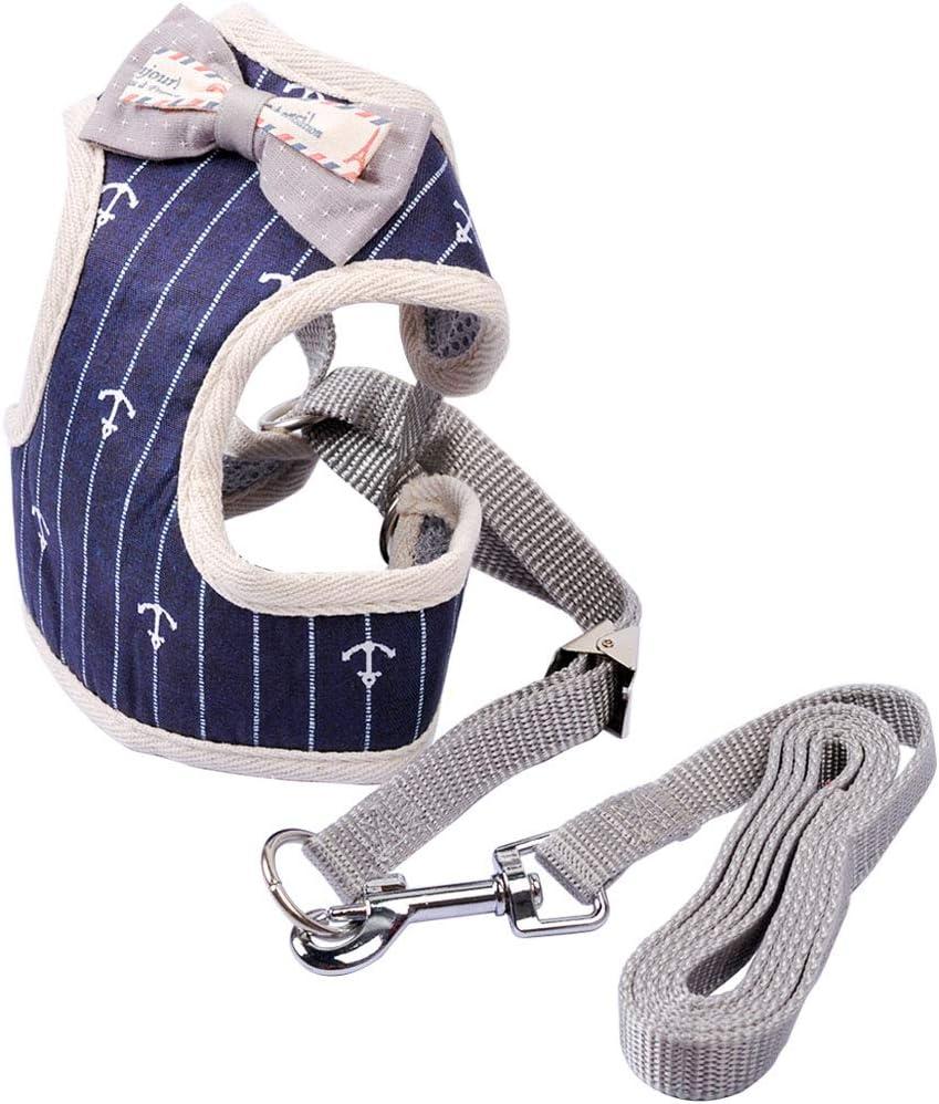MyfatBOSS Harnais Chat Harnais Chaton pour Chats Mignon Gilet Bleue Style Gentleman avec Laisse R/églable