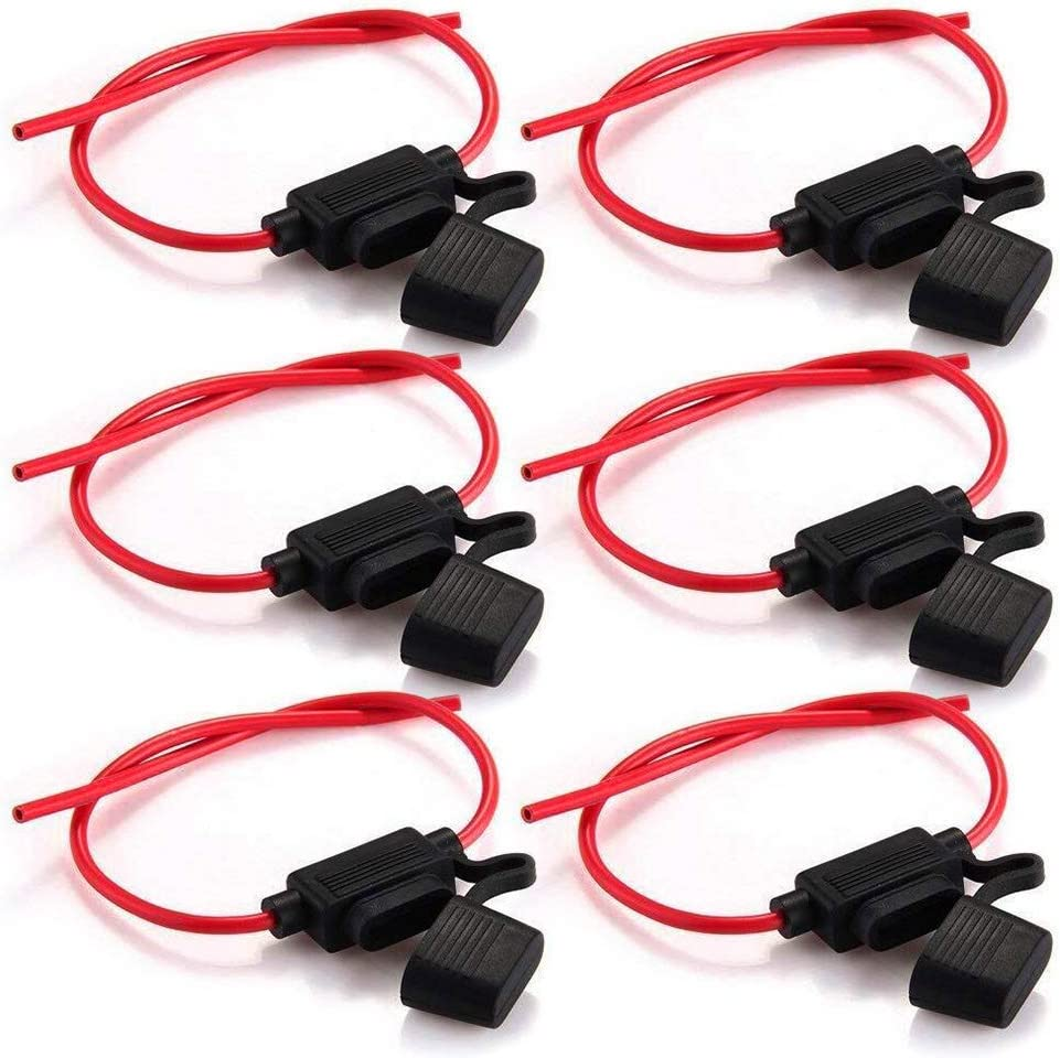 Rovtop 6 Pcs Portafusibles Fusibles para Coche Impermeable con Cuerpo Completamente Encapsulado Portafusibles de Línea Tamaño Mediano
