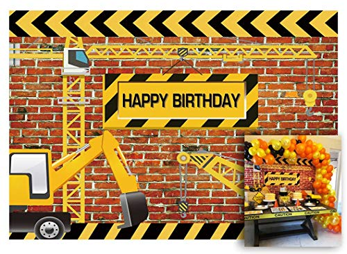 Funnytree 7X5FT Vinyl Construction Theme Birthday Party Backdrop Bricks Builder Dump Trucks Boy Banner Decorations Supplies Photography Background Photobooth Props -