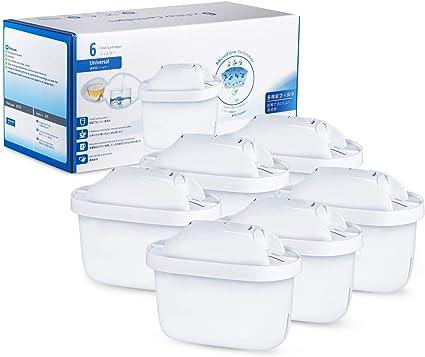 Image of Modohe 6 Cartuchos Filtrantes para el Agua, Compatible con BRITA MAXTRA+, Filtro de Agua, Reducen la Cal y el Cloro, 6 Unidades, Blanco