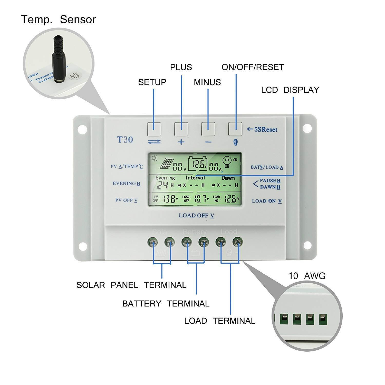 temporizador dual con pantalla LCD para panel solar de 12V//24 V con cargador m/óvil de 5V y USB controlador de panel solar Controlador de carga solar de 30A